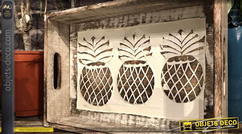 Plateau déco en bois de manguier sculpté, motifs d'ananas blanchi avec hanses