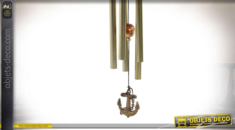 Carillon à vent en métal et bois en forme d'ancien tramway, finition effet vintage, 40cm