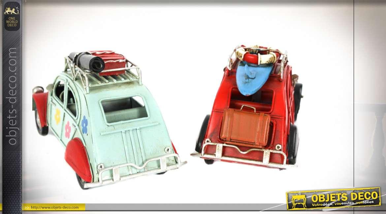 Série de 4 véhicules miniatures en métal, finition effet ancien, ambiance vintage plage, 16cm