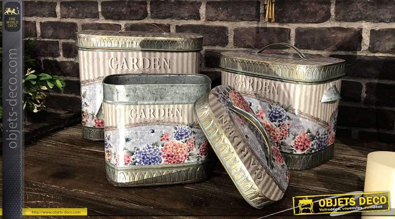 Série de 3 boites en métal aux motifs floraux Hortensia style romantique ancien