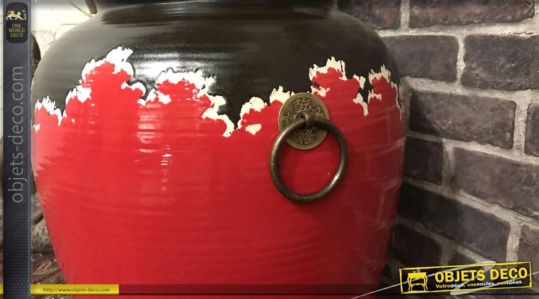 Grand vase/Pot décoratif en terre cuite, finition rouge et brun avec poignées anneaux