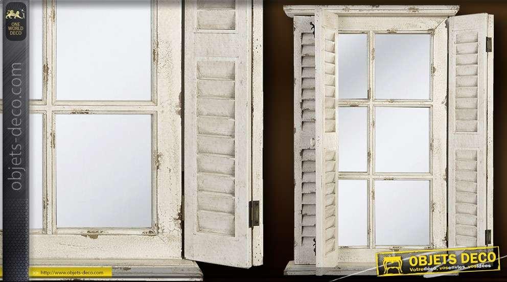 Miroir fenêtre à volets en persiennes 71  cm finition vieillie