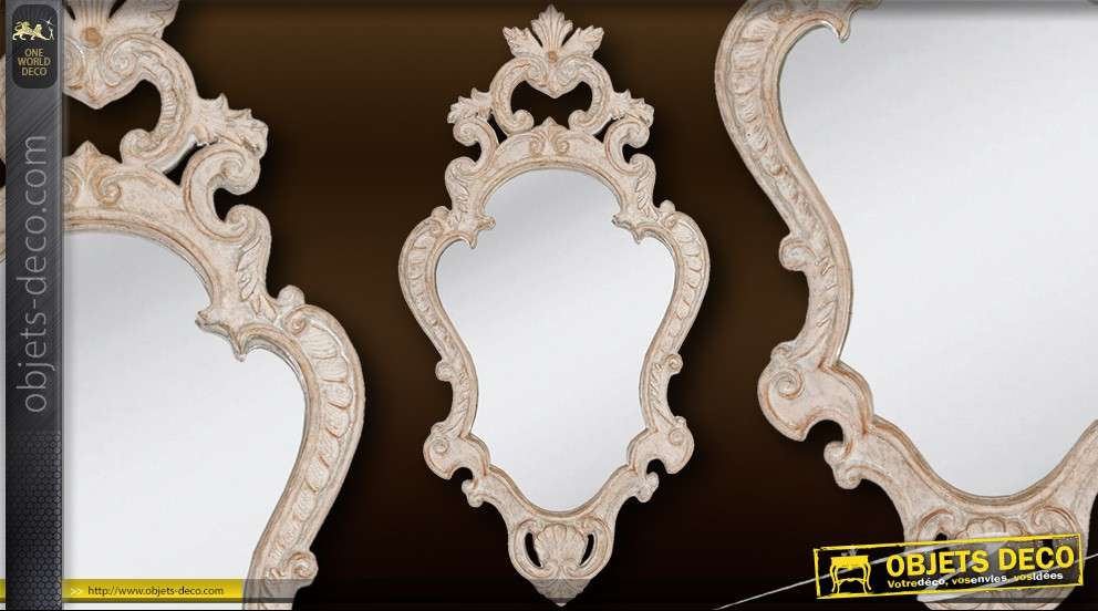 miroir horitontal en bois blanc antique de style baroque 80 cm. Black Bedroom Furniture Sets. Home Design Ideas