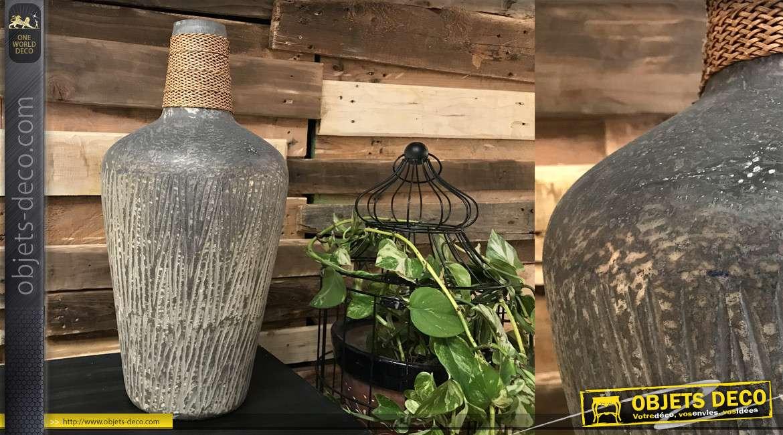 Grand vase déco en verre effet vieilli gris avec touche de corde sur le col, 50cm