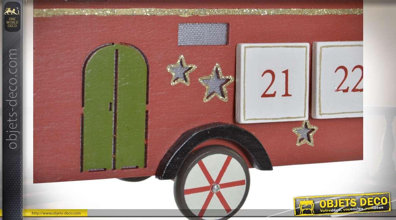 Calendrier de l'avent en bois en forme d'autobus avec village déco sur le toit, ambiance Noël, 31cm