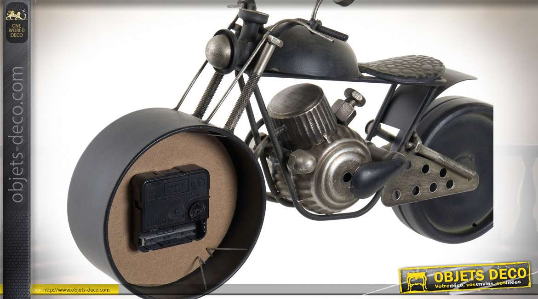 HORLOGE MÉTAL VERRE 40X14X23 MOTO NOIR