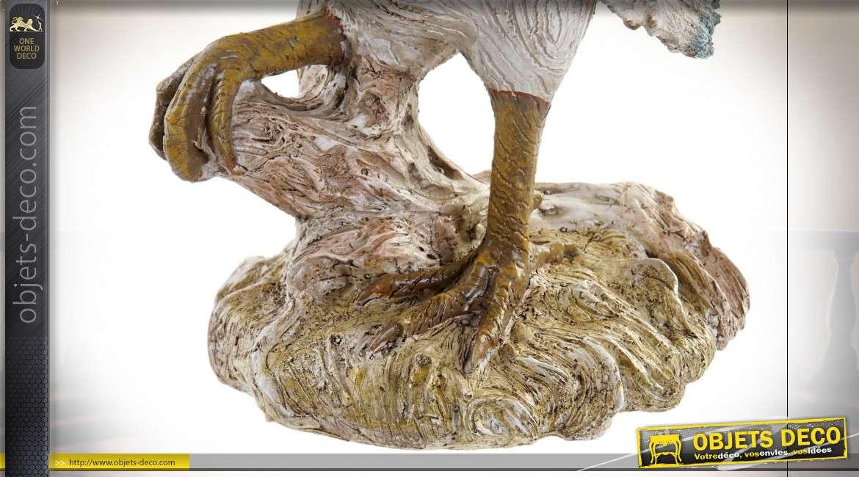 Sculpture en résine d'un coq imitation bois sculpté, finitions usées, pour usage intérieur, 38cm