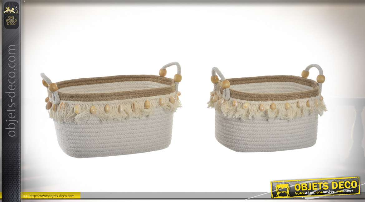 CORBEILLE SET 2 COTON JUTE 34X25X20 COQUILLAGES