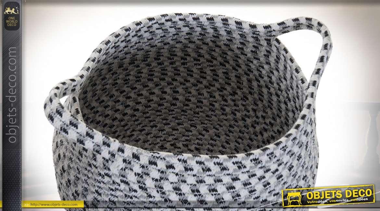 Série de deux corbeilles en coton tressé, finition blanc et noir avec anses de transport et franges