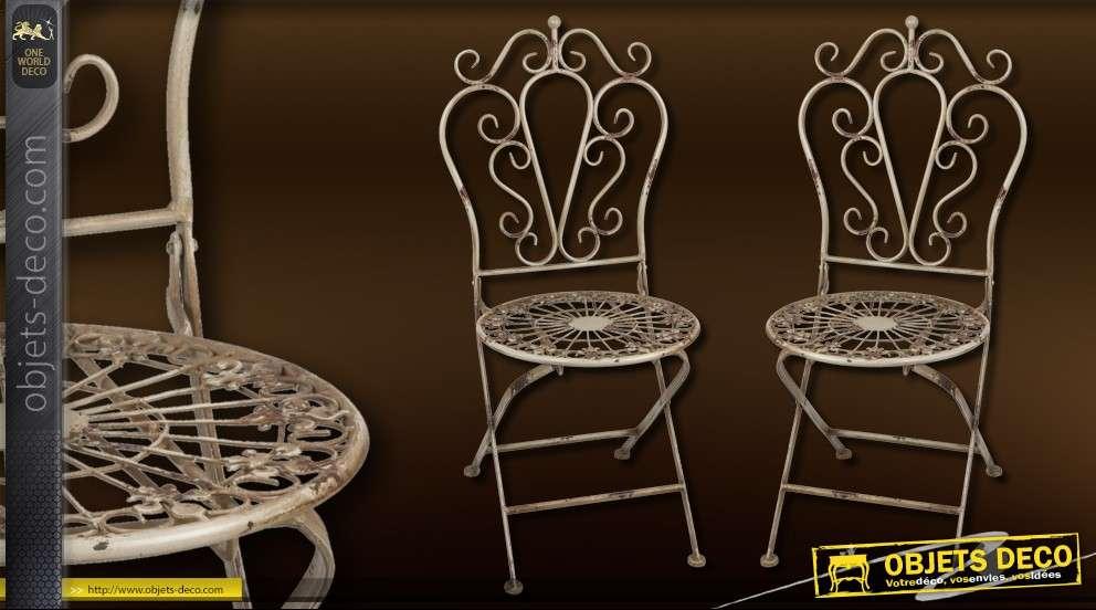 chaise de jardin en fer forg style r tro. Black Bedroom Furniture Sets. Home Design Ideas