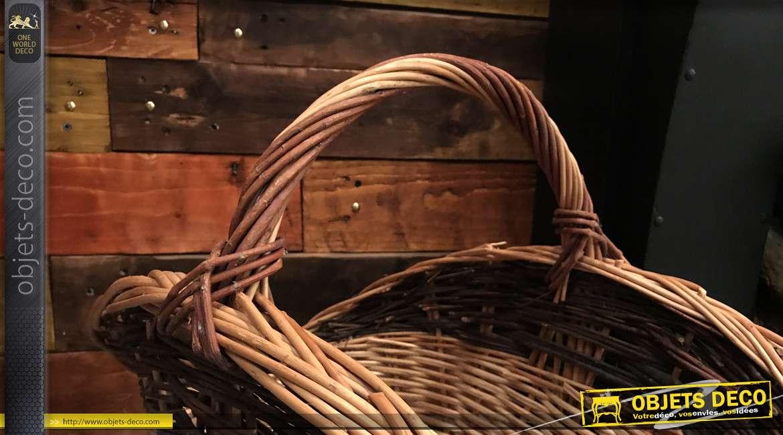 Panier à bûches en osier buff, finition naturelle avec grande anse de transport, 70cm