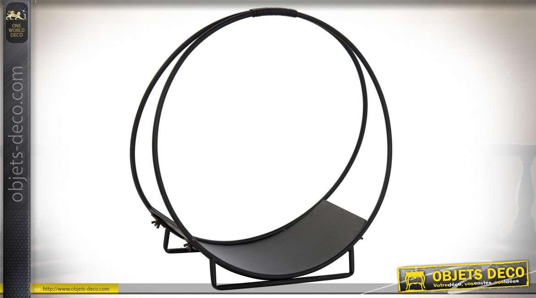 Porte buches en métal noir de forme circulaire, ambiance moderne contemporaine, Ø50cm