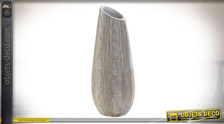 Vase en résine brun et blanchi, effet textile toile de jute, 38cm de hauteur finale