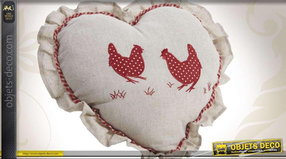 Coussin en forme de coeur déco campagne chic