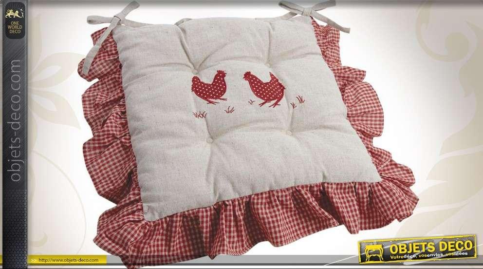 Coussin décoratif carré motif poules et campagne