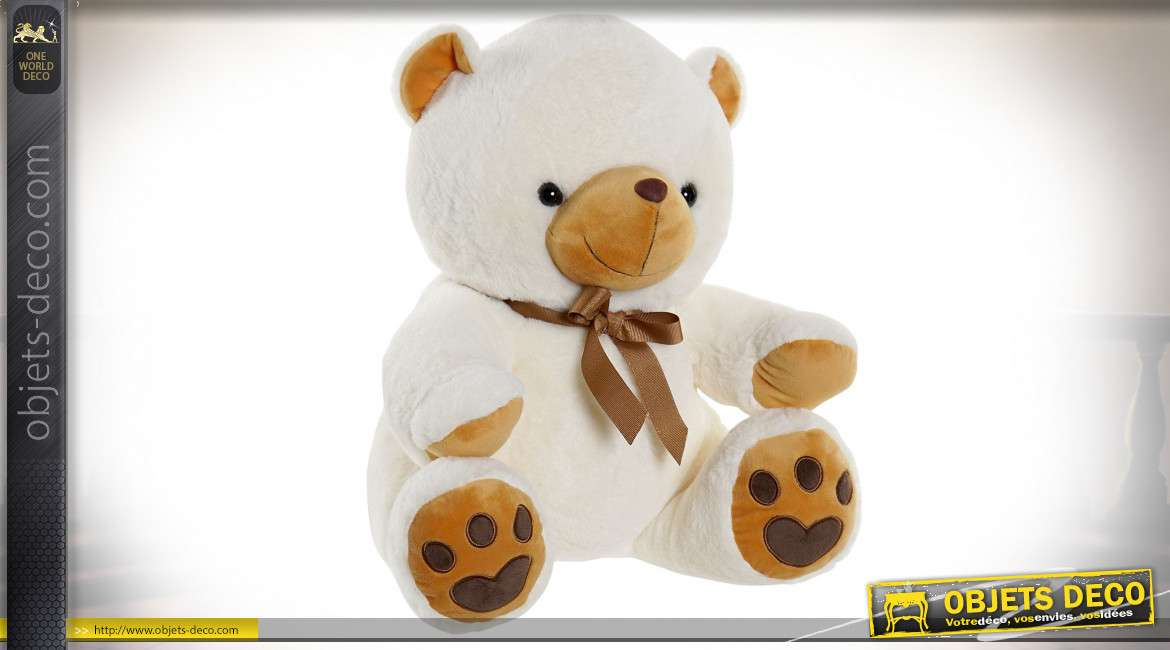 PELUCHE POLYESTER 40X37X40 OURS BLANC