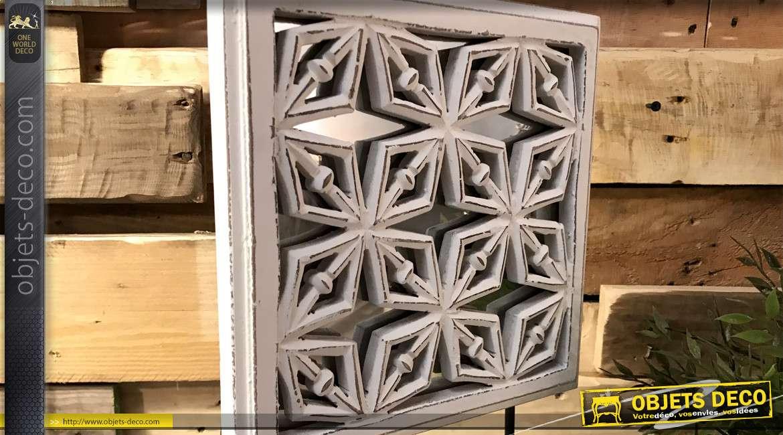 Deco en bois et miroir à poser, esprit mandala blanchi sur base noir brillant