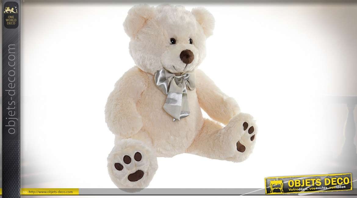 PELUCHE POLYESTER 45X34X40 OURS BEIGE