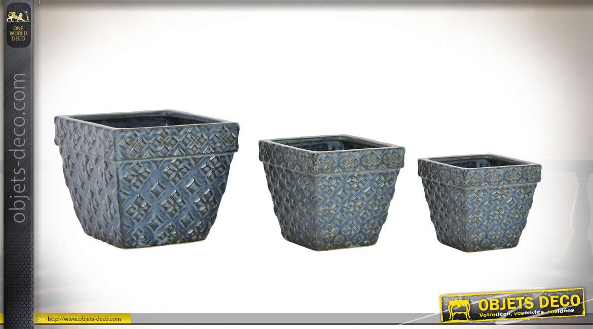 SUPPORT POT FLEURS SET 3 FAIENCE 17X17X14 ETNICO