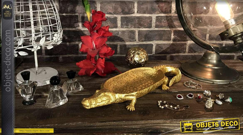 Vide poche/Centre de table en résine finition doré brillant, forme de crocodile
