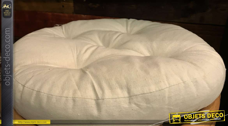 Tabouret en rotin de Java coussin 100 % coton garni Kapok, de forme ronde, Ø44cm