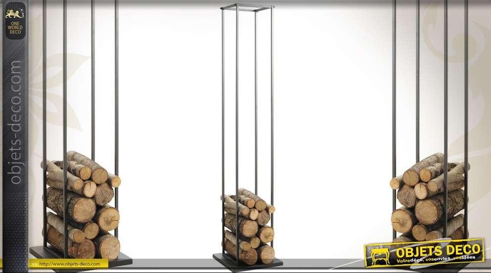 Grand rack à bûches en métal gris 160 cm