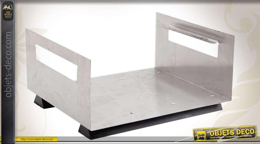 Porte-bûches design moderne en métal et bois 40 cm