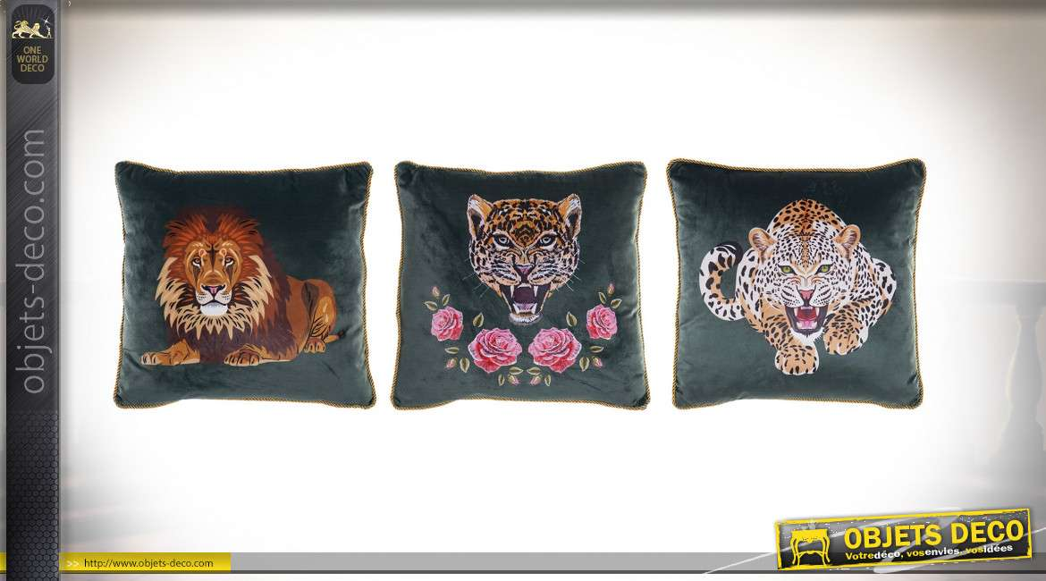 COUSSIN POLYESTER 44X42 472 GR. ANIMAUX 3 MOD.