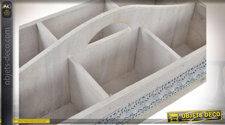 Bac en bois compartimenté avec anse de transport, en bois finition blanchi