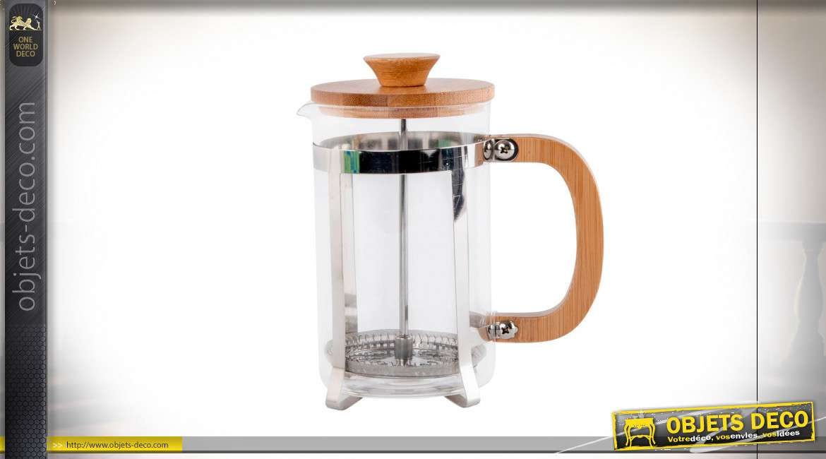 CAFETIERE INOX BAMBOU 600ML PISTON