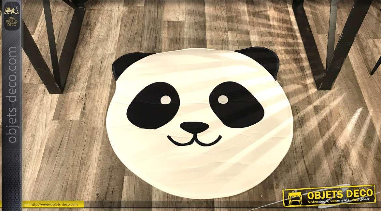 Tapis décoratif en forme et aux couleurs du Panda, noir et blanc de 67cm