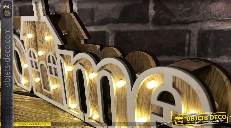 Décoration lumineuse en bois clair, découpe en forme de Home, à piles 45cm