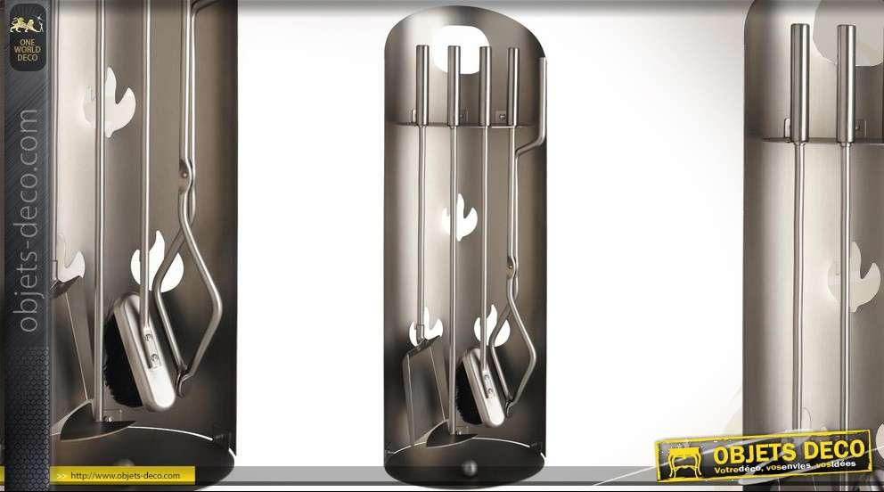 Serviteur de cheminée design en métal, finition cuivrée
