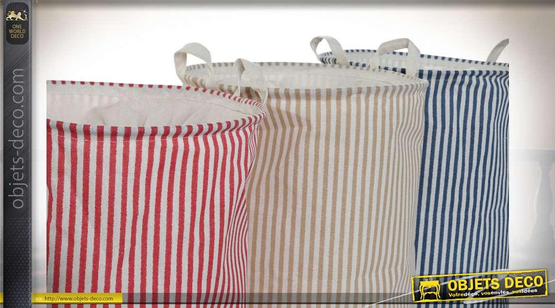 Série de trois paniers à linge pliants en coton épais, 3 finitions colorées avec motifs de rayures, esprit vieille colonie de vacances, 52cm