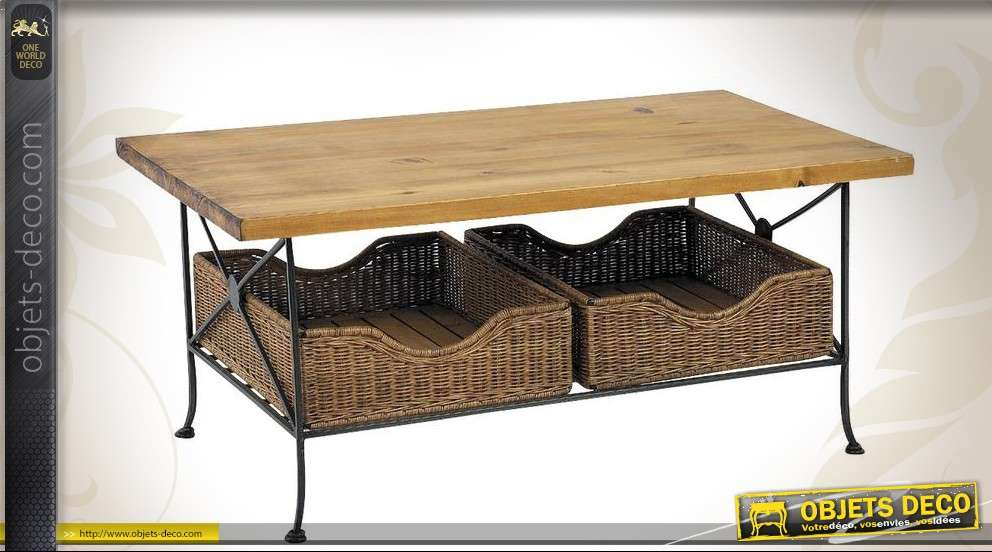 Table basse en bois de style classique patine cr me for Table basse bois fer forge