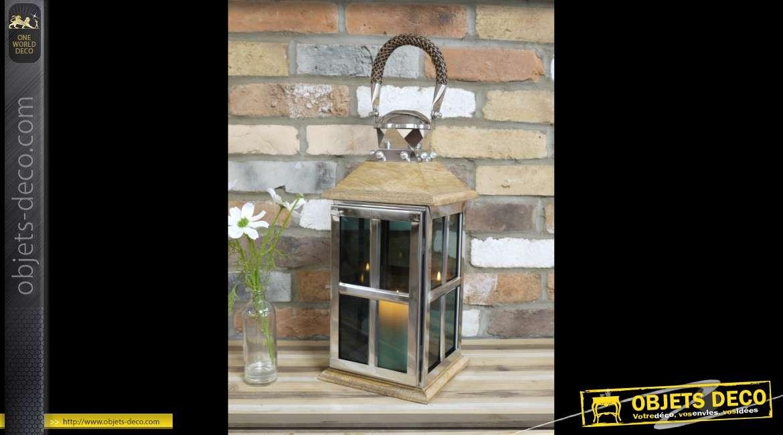 Grande lanterne décoration en inox poli et bois style design 60 cm