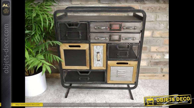 Buffet-console original style indus  bois et métal avec 8 tiroirs