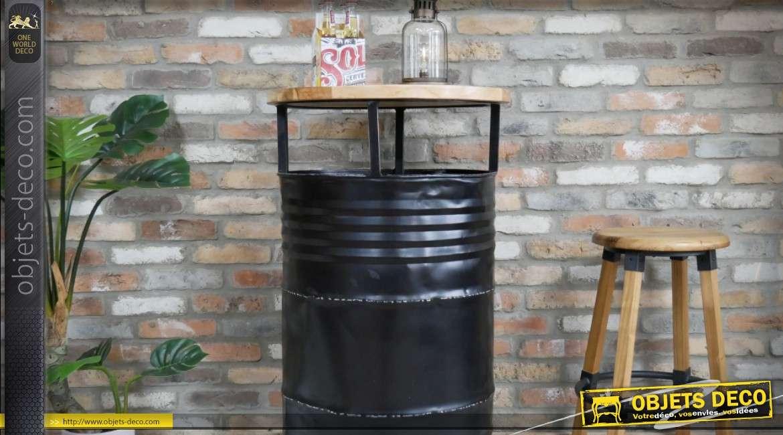 Meuble bar industriel en forme d'ancien baril industriel noir 110 cm