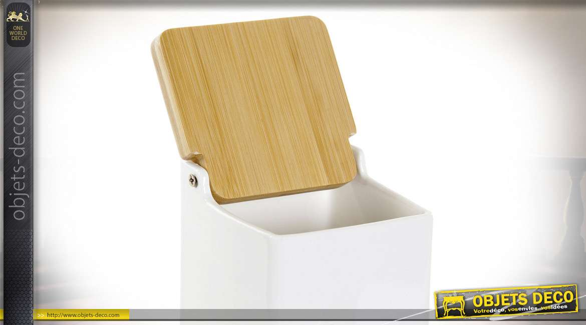 BOITE INFUSIONS PORCELAINE BAMBOU 9X9X14 BLANC