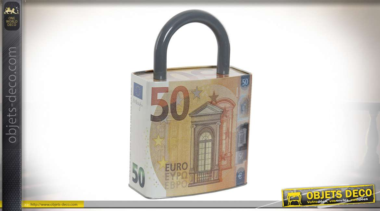 TIRELIRE MÉTAL 16X8,8X24,8 16 50 EUROS ORANGE