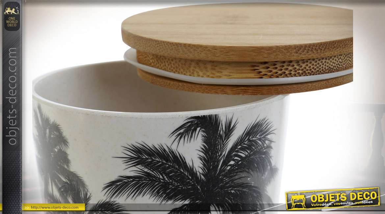 Pot en bambou recyclé avec couvercle pour cuisine ou salle de bain, motifs de feuilles tropicales noires, Ø10cm