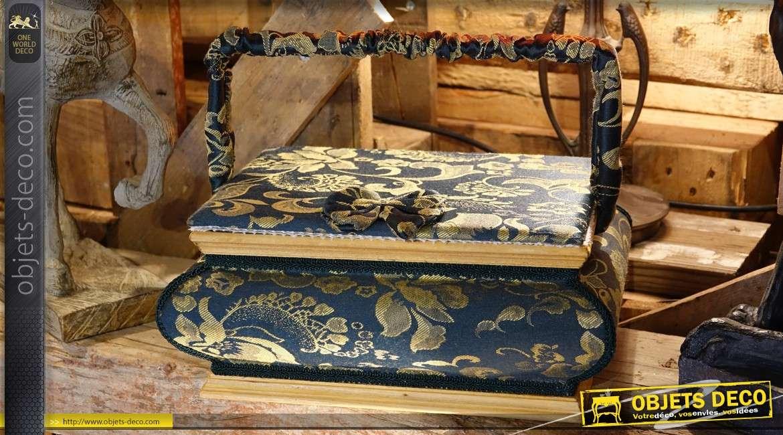 Boîte à couture vintage en bois teinté et habillage coton