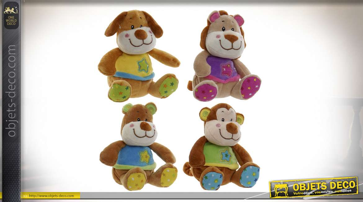PELUCHE POLYESTER 10X14 ANIMAUX 4 MOD.