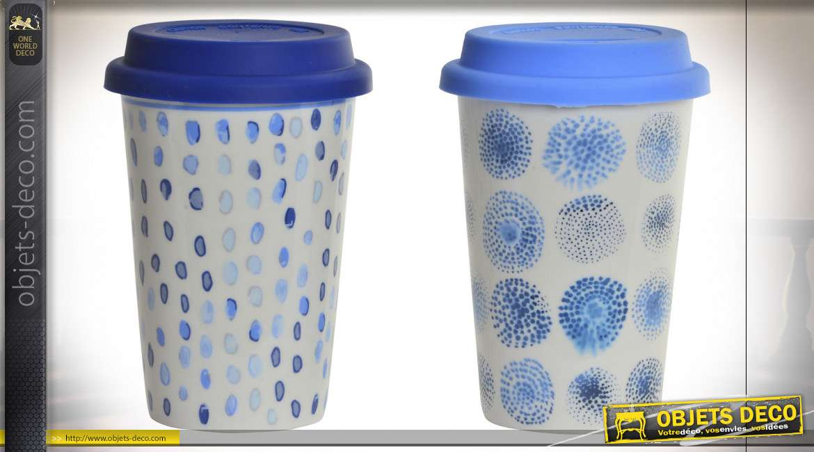MUG PORCELAINE 9,5X9,5X14 400ML. DOTS 2 MOD.
