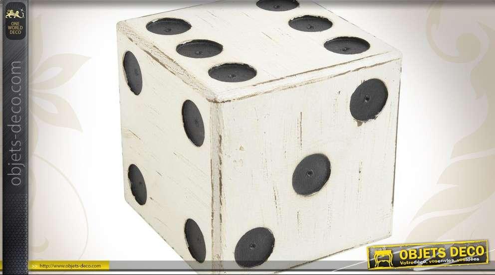 Dé à jouer pour déco format 15x15x15 cm en bois vieilli