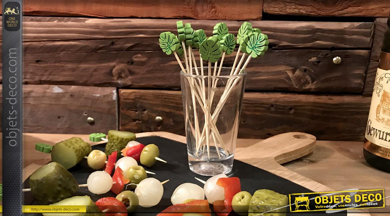Série de 20 pics en bois de 12cm pour l'apéritif, feuilles vertes en relief à l'extrémité