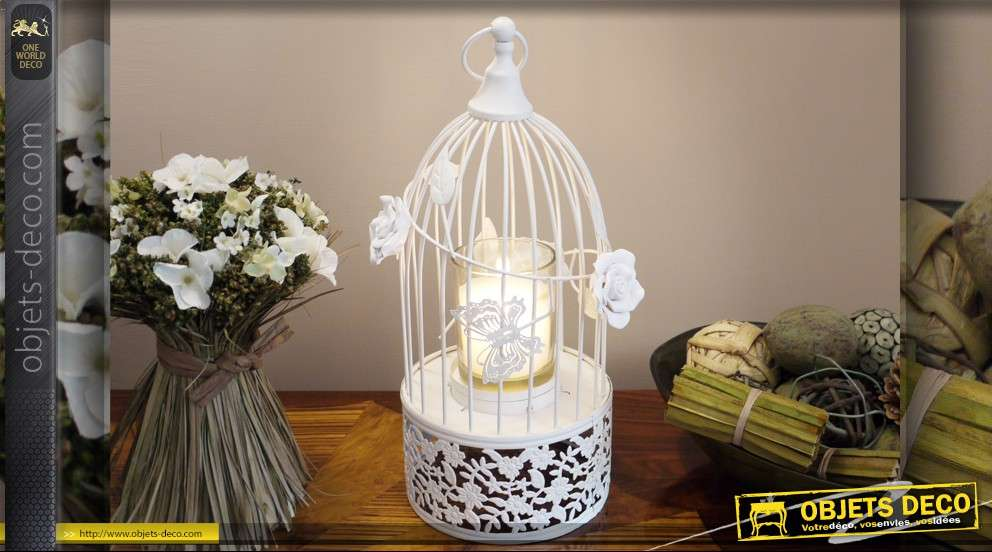 cage oiseaux romantique avec support bougie. Black Bedroom Furniture Sets. Home Design Ideas