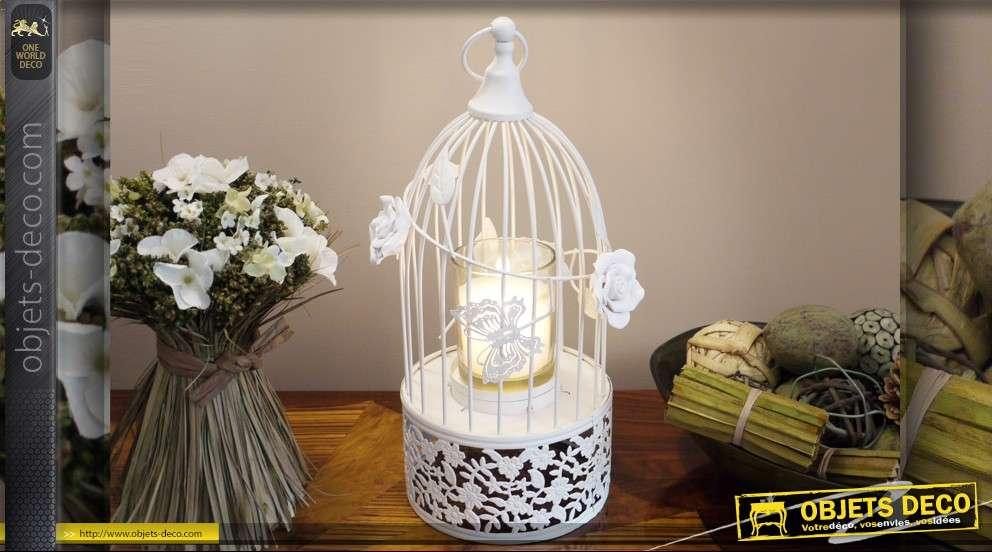 Cage à oiseaux romantique avec support bougie