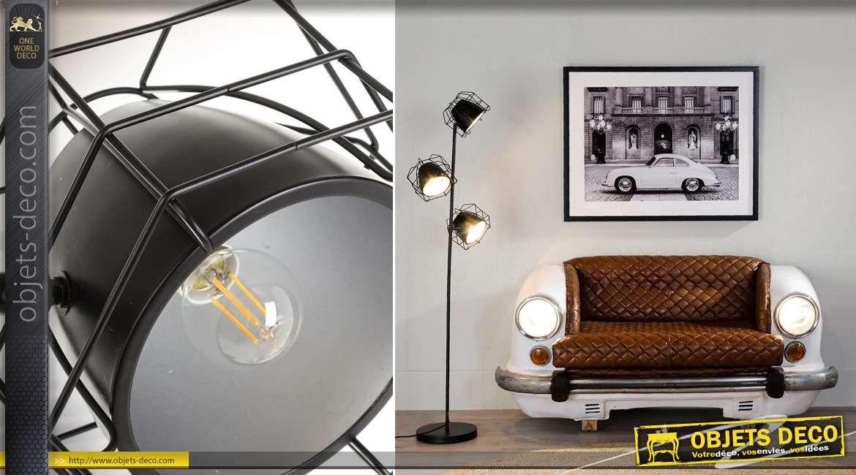 Lampadaire de style industriel avec 3 projecteurs, coloris noir 1,60 mètre