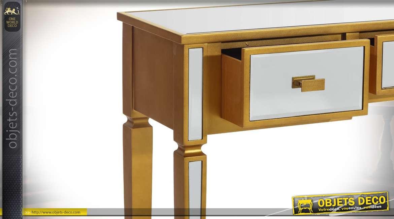 Coiffeuse de charme argent et or avec 3 tiroirs bois et miroir 115 cm